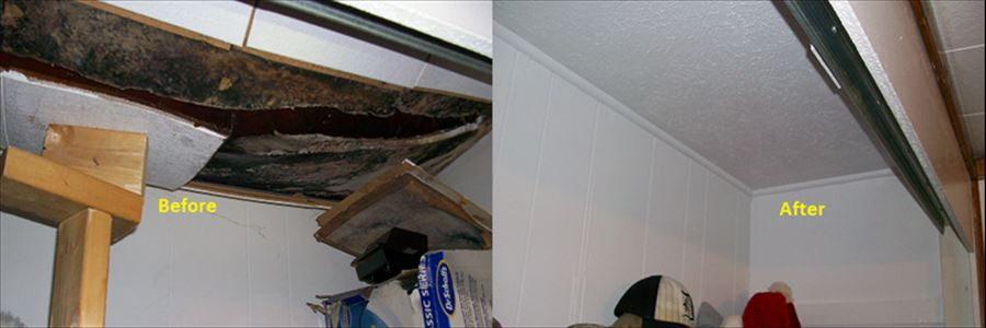 Roof leak with interior damage before and after.